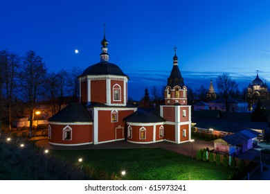 Suzdal, Golden ring of Russia. Assumption Church of the Suzdal Kremlin in the night. (Inscription: Welcome to Suzdal)
