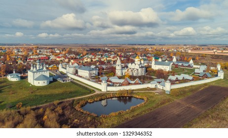 Suzdal, Golden Ring of Russia. Autumn panorama overlooking the Pokrovsky Monastery in Suzdal.