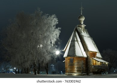 Suzdal, Golden ring of Russia. Cold winter night in Russia. Wooden St. Nicholas Church (1766) in the Suzdal Kremlin.