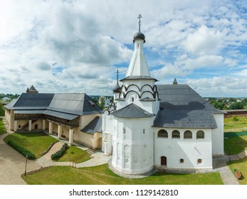 Suzdal, the Golden Ring of Russia. Monastery of Saint Euthymius. The house of the archimandrite and the Assumption refectory church. Summer view from the monastery bell tower.