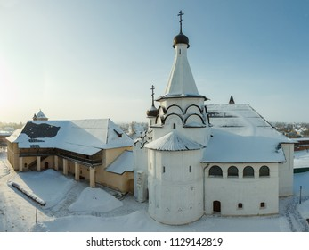 Suzdal, the Golden Ring of Russia. Monastery of Saint Euthymius. The house of the archimandrite and the Assumption refectory church. Winter view from the monastery bell tower.