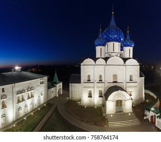 Suzdal, Golden ring of Russia. The Nativity Cathedral and the Bishop's chambers of the Suzdal Kremlin in the night. View from Cathedral bell tower.