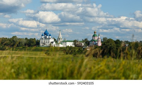 Suzdal, the Golden Ring of Russia. Summer panorama of the Suzdal Kremlin from the Ilyinsky meadow.