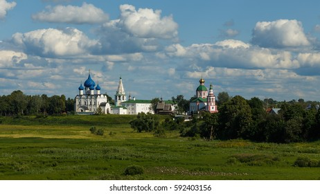 Suzdal, the Golden Ring of Russia. View of Suzdal Kremlin and Ilinsky meadow.