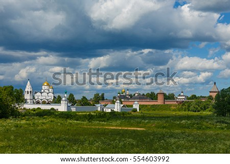Suzdal - the pearl of the Golden ring of Russia. Summer panoramic view of two Suzdal monasteries: the Pokrovsky monastery (foreground) and the Saint Euthymius monastery (in the background).