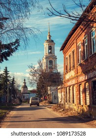 Suzdal, Russia - 05 01 2018: The old street in Suzdal, Russia.