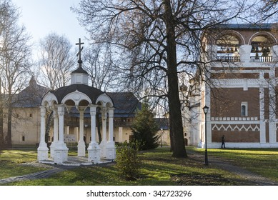 Suzdal, Russia -06.11.2015. Monastic cells and  Gate Church of the territory a St. Euthymius monastery in Suzdal. Golden Ring of Russia Travel