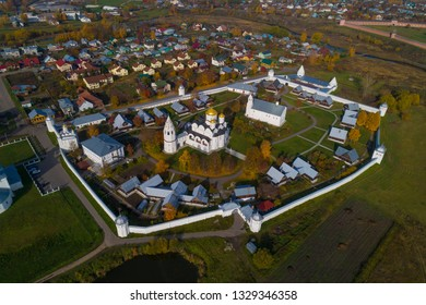 Suzdal, Russia. Aerial shot of the Pokrovsky Monastery in Suzdal in the fall.