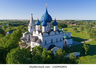 Suzdal, Russia. Aerial view of the Nativity Cathedral and the bell tower of the Suzdal Kremlin.