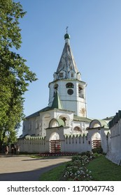 Suzdal, Russia - Aug 25, 2018: Church of the Annunciation of the Blessed Virgin Mary, Cathedral bell tower. Suzdal Kremlin