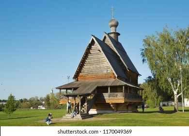 Suzdal, Russia - Aug 25, 2018: Nicholas Church in Suzdal, typical wooden Russian church of eighteenth century. It was restored in 1960 in Suzdal