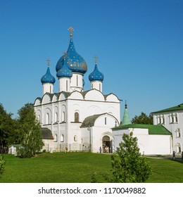 Suzdal, Russia - Aug 25, 2018: Cathedral of the Nativity of the Virgin, Orthodox church located in the Suzdal Kremlin, one of the most interesting monuments of ancient Russian architecture