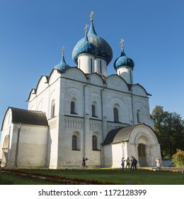 Suzdal, Russia - Aug 25, 2018: Cathedral of the Nativity of the Virgin in the Suzdal Kremlin, one of the most interesting monuments of ancient Russian architecture