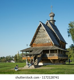 Suzdal, Russia - Aug 25, 2018: Nicholas Church in Suzdal, typical wooden Russian church of eighteenth century. Popular tourist attraction