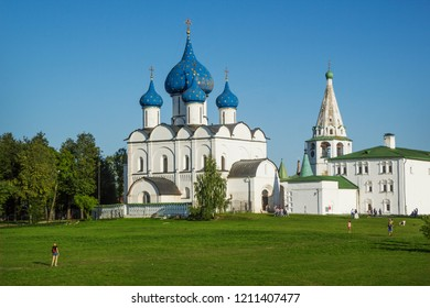 Suzdal, Russia - Aug 25, 2018: Cathedral of the Nativity of the Virgin, Orthodox church located in the Suzdal Kremlin, one of the most interesting monuments of ancient Russian architecture in Suzdal