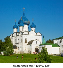 Suzdal, Russia - Aug 25, 2018: Cathedral of the Nativity of the Virgin, Orthodox church located in the Suzdal Kremlin. Tourists visit one of the monuments of ancient Russian architecture in Suzdal