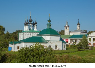 Suzdal, Russia - Aug 26, 2018: In the foreground of the photo we see the Church of St. Paraskeva in Suzdal