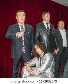 Suzdal, Russia - Aug 26, 2018: Figure of Russian singers Iosif Kobzon, Valery Leontiev and other characters. Wax Museum in Suzdal