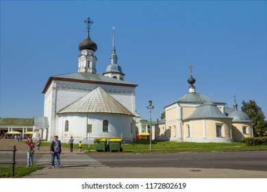 Suzdal, Russia - Aug 26, 2018: Resurrection and Kazan churches on the main square of Suzdal