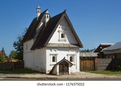 Suzdal, Russia - Aug 26, 2018: Rare monument of urban architecture of XVII-XVIII centuries, stone house, only one in Suzdal