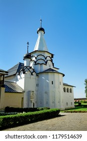 Suzdal, Russia - Aug 26, 2018: Church of the Assumption of the blessed virgin Mary in one of the monasteries of Suzdal