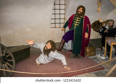 Suzdal, Russia - Aug 26, 2018: Wax Museum in Suzdal. Medieval torture chamber