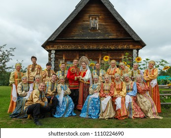 Suzdal, Russia - August 14, 2016: International Quilt Festival in Suzdal 'Soul of Russia'. Reconstruction of the traditional Russian wedding.