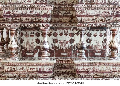 Suzdal, Russia - August 19, 2018: Fragment of a tiled stove in the Cross Chamber of the Suzdal Kremlin.