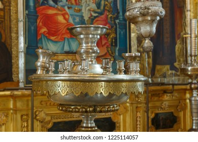 Suzdal, Russia - August 19, 2018: The interior of the Nativity Cathedral in the Suzdal Kremlin.