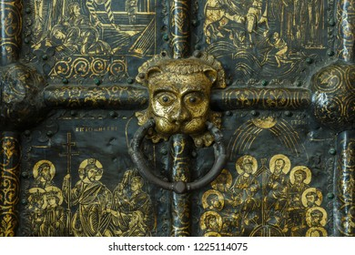 Suzdal, Russia - August 19, 2018: Fragment of the Western Golden Gate of the Nativity Cathedral in Suzdal.