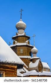SUZDAL, RUSSIA - CIRCA JANUARY 2011: Fragment Church of the Transfiguration of the village Kozlyatevo in winter