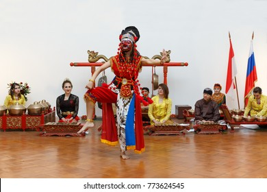 Suzdal, Russia - December 2, 2017: Indonesian Culture Day in Suzdal Kremlin. Indonesian dance Topeng Kelana Cirebon performed by Arianti Dian Nurrosi