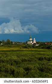 Suzdal, Russia. Elias Church with a bell tower in Ilyinsky meadow in Suzdal.