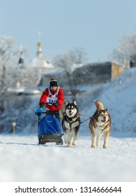 Suzdal, Russia - February 24, 2018: Dog sled racing. Two racing dogs run along a snowy track in winter.