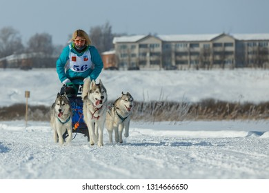 Suzdal, Russia - February 24, 2018: Dog sled racing. Woman on a sled driven by husky racing dogs.