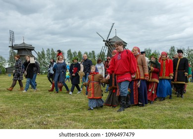 Suzdal, Russia - June 4, 2017: Folk festivities dedicated to the feast of the Holy Trinity in Suzdal. An ancient Russian rite Driving a spikelet.