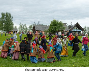 Suzdal, Russia - June 4, 2017: Folk festivities dedicated to the feast of the Holy Trinity in Suzdal. Folk festivities in the Russian countryside.