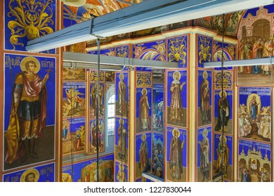 Suzdal, Russia - June 6, 2016: The frescoes of the Nativity Cathedral in Suzdal