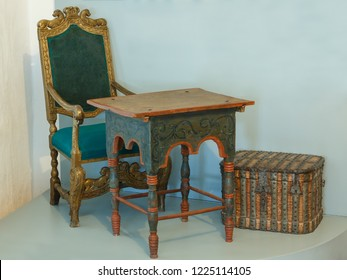 Suzdal, Russia - March 22, 2018: Antique furniture - a fragment of the museum exhibition in the Suzdal Kremlin.