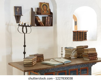 Suzdal, Russia - March 28, 2018: Fragment of the museum exposition in the Savior Euthymius Monastery.