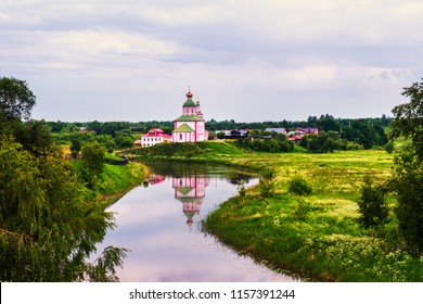 Suzdal, Russia. Morning view of old churche in Suzdal, Russia during a cloudy sunrise. Golden tour trip in Russia