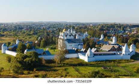 Suzdal, Russia. Panorama of Pokrovsky monastery in the early autumn.