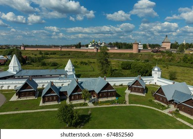 Suzdal, Russia. Panorama with two largest Suzdal monasteries. The cells of the Pokrovsky monastery (foreground) and the Spaso-Evfimiev monastery (background).