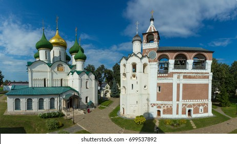 Suzdal, Russia. Panoramic view of the Spaso-Evfimiev monastery in Suzdal: Cathedral of the Transfiguration and the belfry.
