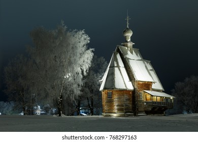 Suzdal, Russia. Russian winter night in Suzdal. Wooden St. Nicholas Church (1766) in the Suzdal Kremlin.