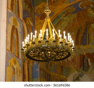 Suzdal, Russia - September 20, 2015: Ancient frescoes on the walls of the Transfiguration Cathedral in Monastery of Saint Euthymius in Suzdal, Russia.