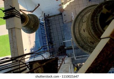 Suzdal, Vladimir Region, Russia - May 28, 2018: Unusual foreshortening of the bell of the Prepodobenskaya Bell Tower