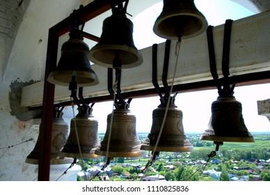 Suzdal, Vladimir Region, Russia - May 28, 2018: Bells of the Prepodobinskaya Bell Tower