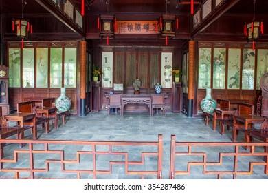 SUZHON, JIANGSU/CHINA-APR 13: Interior furnishings of Chinese ancient house on Apr 13,2015 in Suzhou, Jiangsu, China. Taken on the Liuyuan(Lingering) Garden-One of Chinese classical gardens.