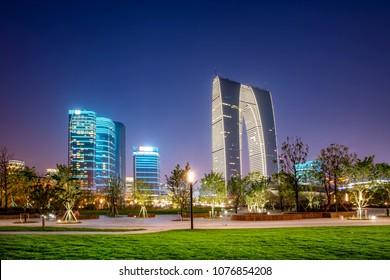 Suzhou, China, April 2018: modern high-rise buildings in the CDB financial center of Suzhou Jinji Lake.